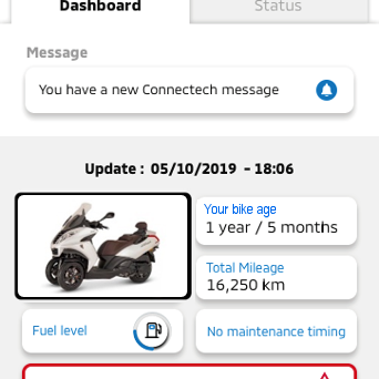 i-ConnRide digital services: Vehicle Status